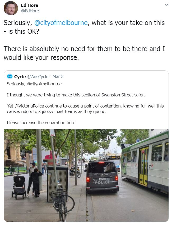 Ed Hore having another whine about Police blocking cycling paths.
